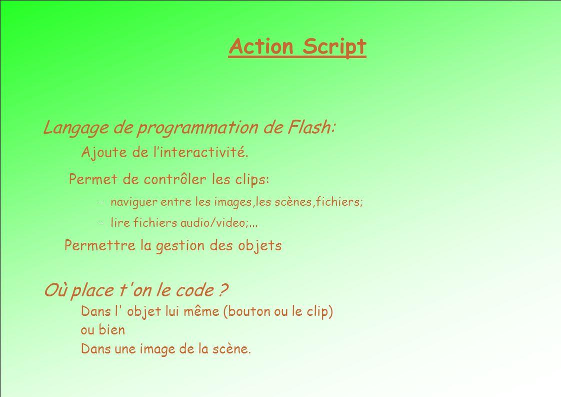 Action Script Langage de programmation de Flash: