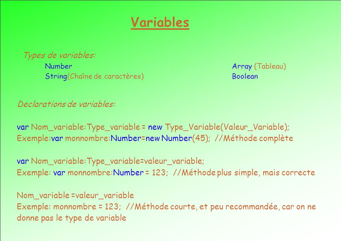 Variables Types de variables: Declarations de variables: