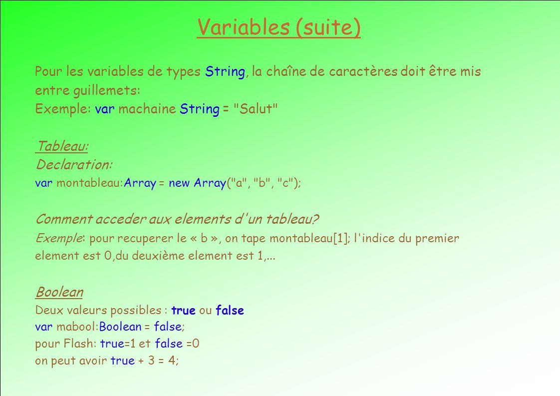 Variables (suite) Pour les variables de types String, la chaîne de caractères doit être mis entre guillemets: