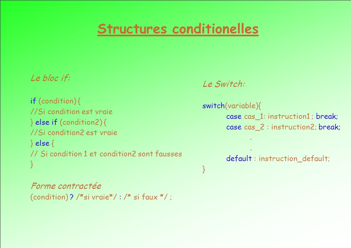 Structures conditionelles