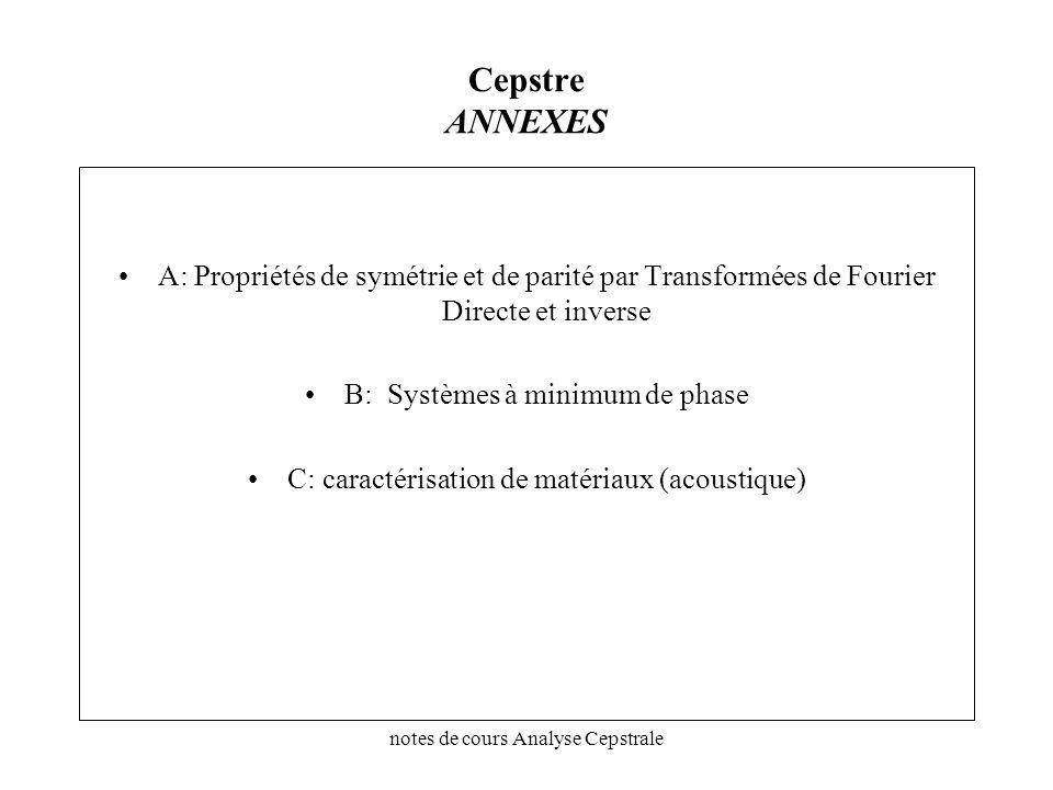Cepstre ANNEXES A: Propriétés de symétrie et de parité par Transformées de Fourier Directe et inverse.
