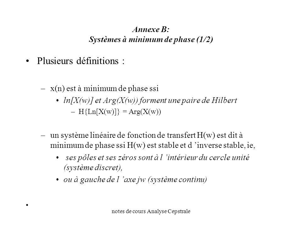 Annexe B: Systèmes à minimum de phase (1/2)