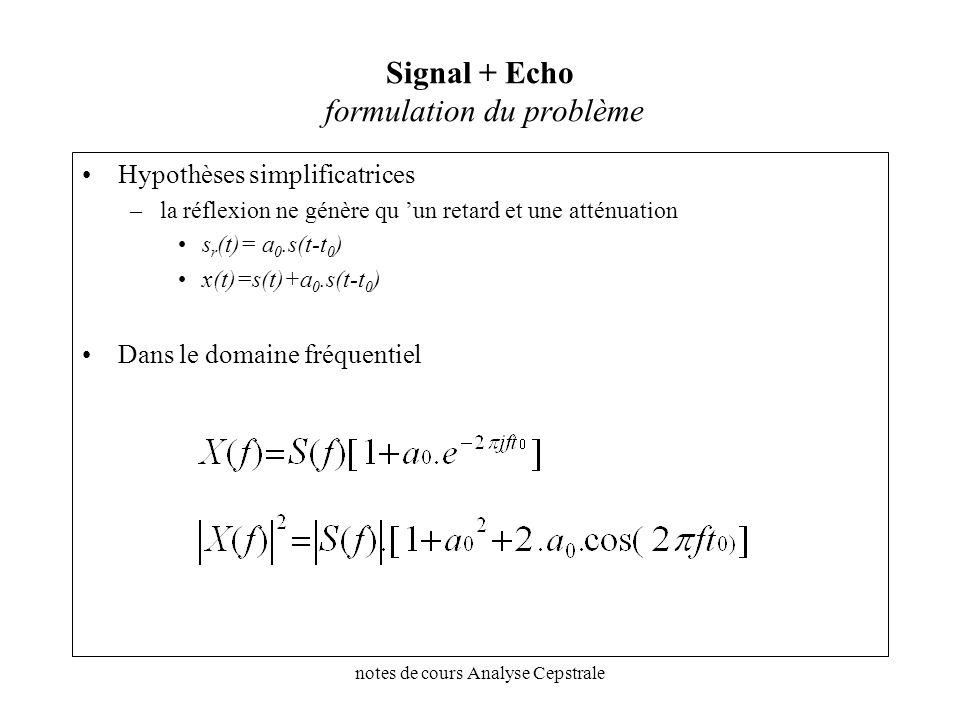 Signal + Echo formulation du problème