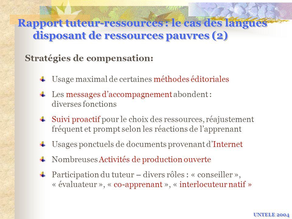 Rapport tuteur-ressources : le cas des langues disposant de ressources pauvres (2)
