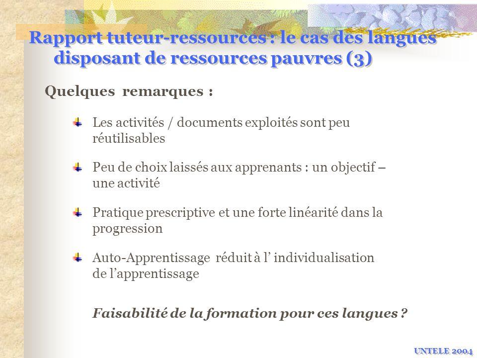 Rapport tuteur-ressources : le cas des langues disposant de ressources pauvres (3)