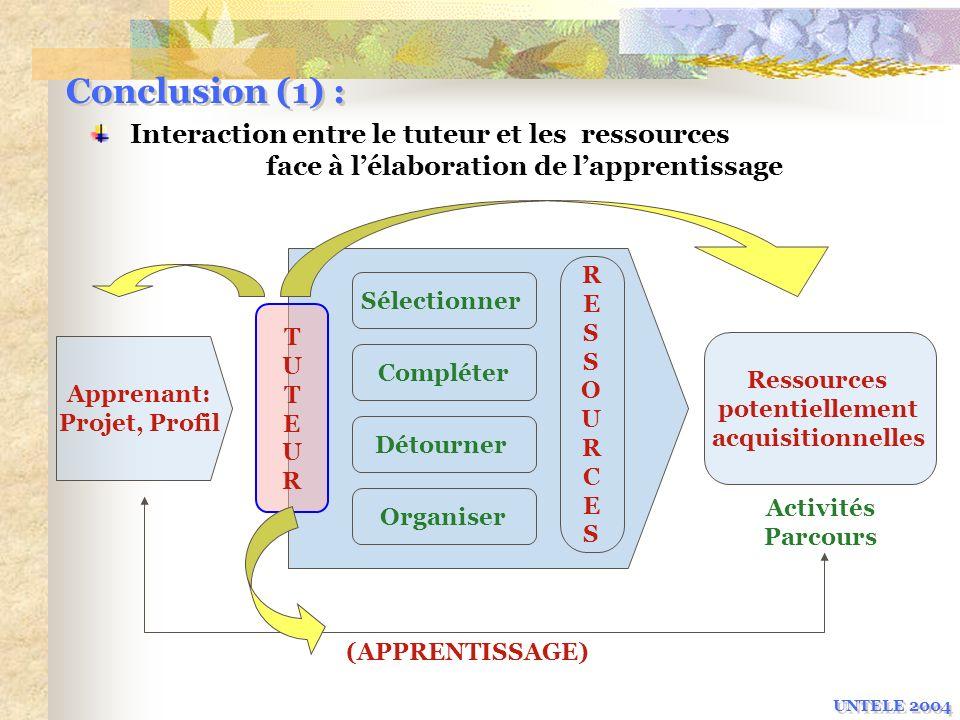 Conclusion (1) : Interaction entre le tuteur et les ressources