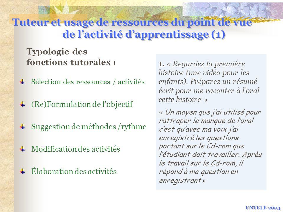 Tuteur et usage de ressources du point de vue de l'activité d'apprentissage (1)