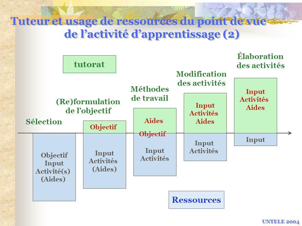 Tuteur et usage de ressources du point de vue de l'activité d'apprentissage (2)