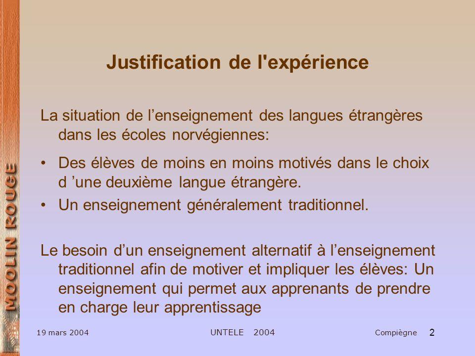 Justification de l expérience