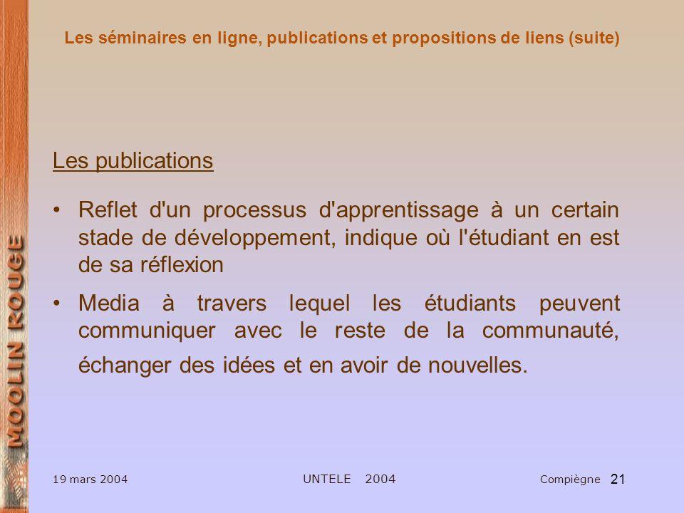 Les séminaires en ligne, publications et propositions de liens (suite)
