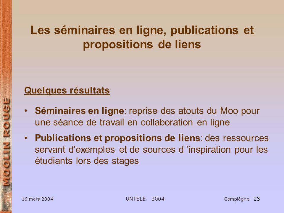 Les séminaires en ligne, publications et propositions de liens