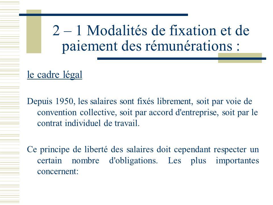 2 – 1 Modalités de fixation et de paiement des rémunérations :