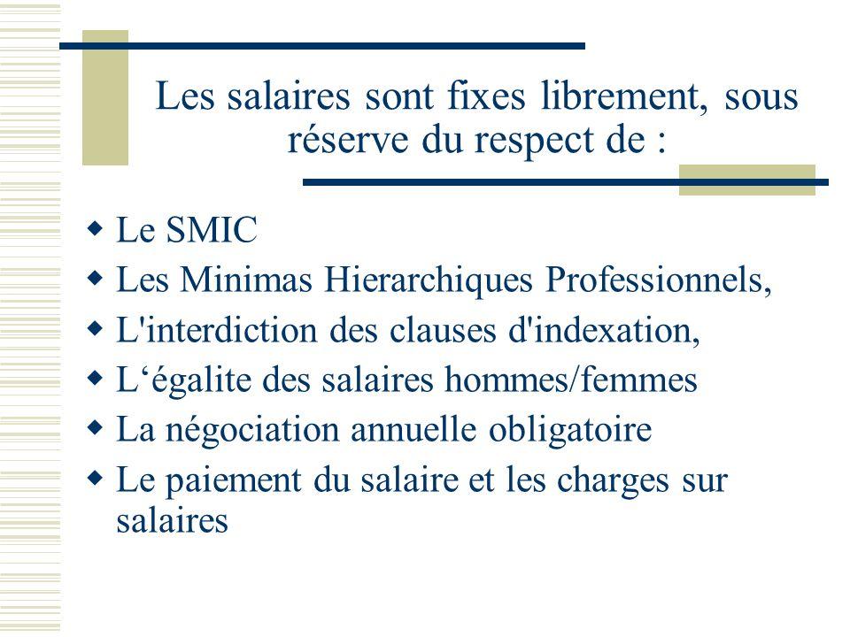 Les salaires sont fixes librement, sous réserve du respect de :