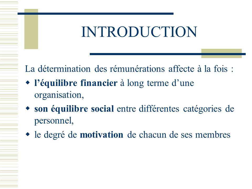 INTRODUCTION La détermination des rémunérations affecte à la fois :