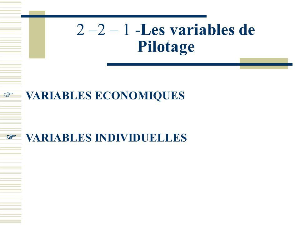 2 –2 – 1 -Les variables de Pilotage
