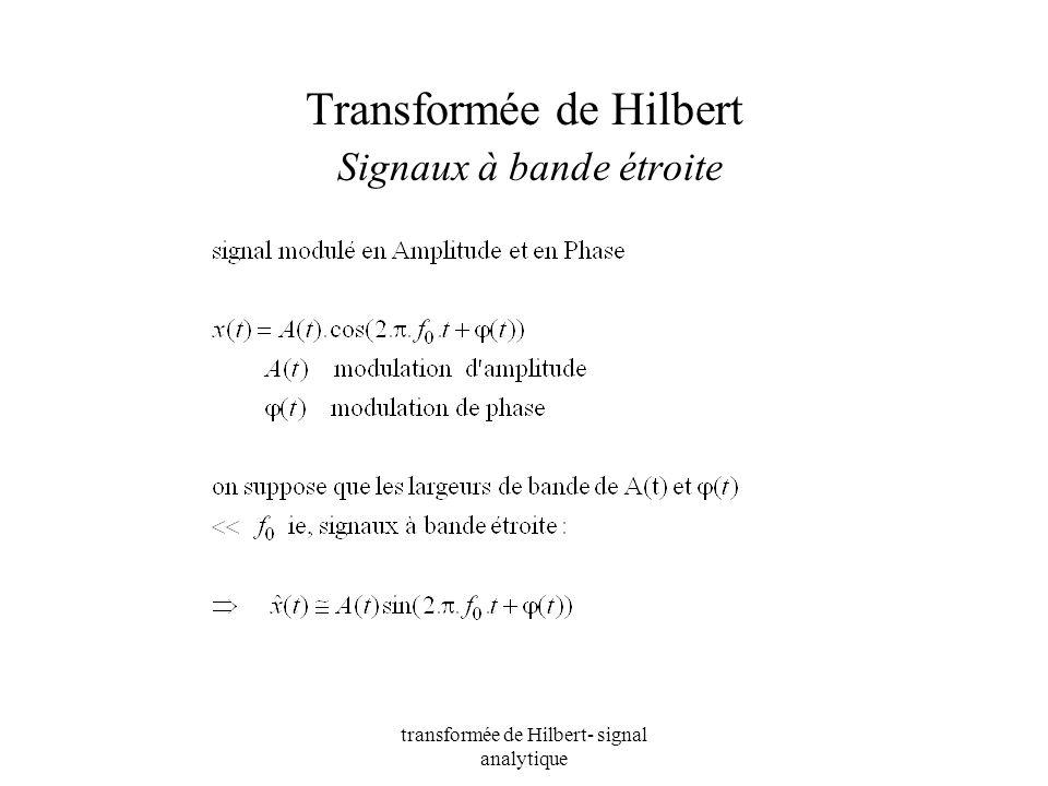 Transformée de Hilbert Signaux à bande étroite