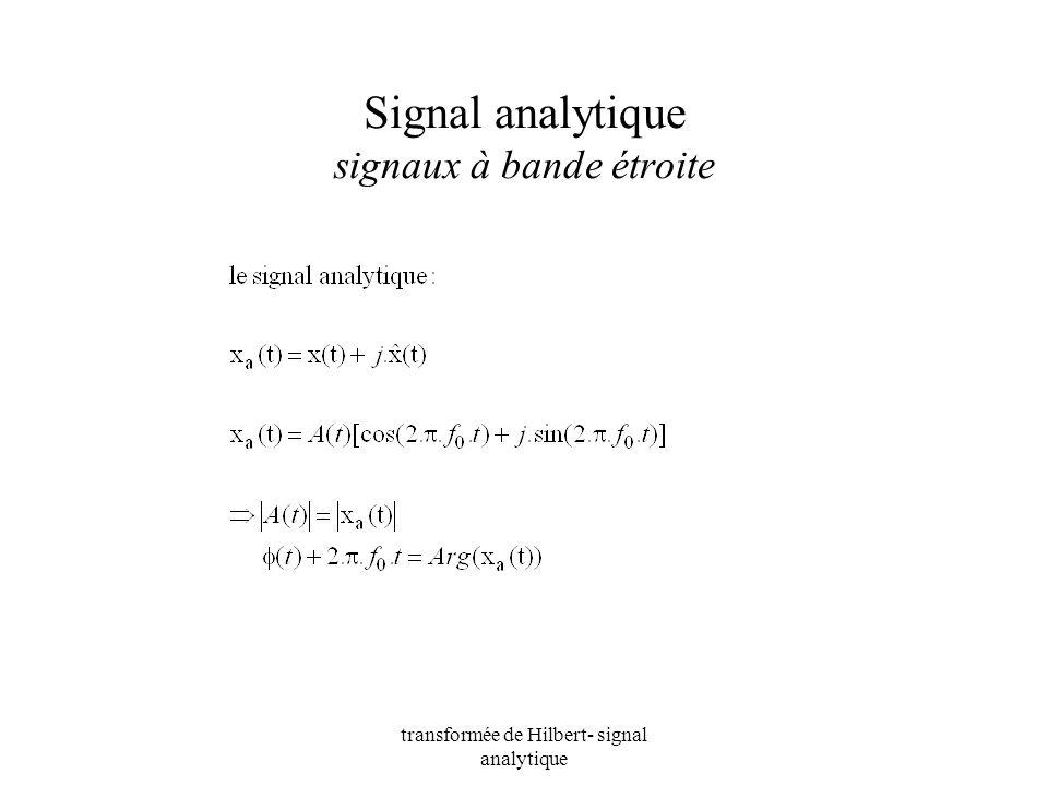 Signal analytique signaux à bande étroite