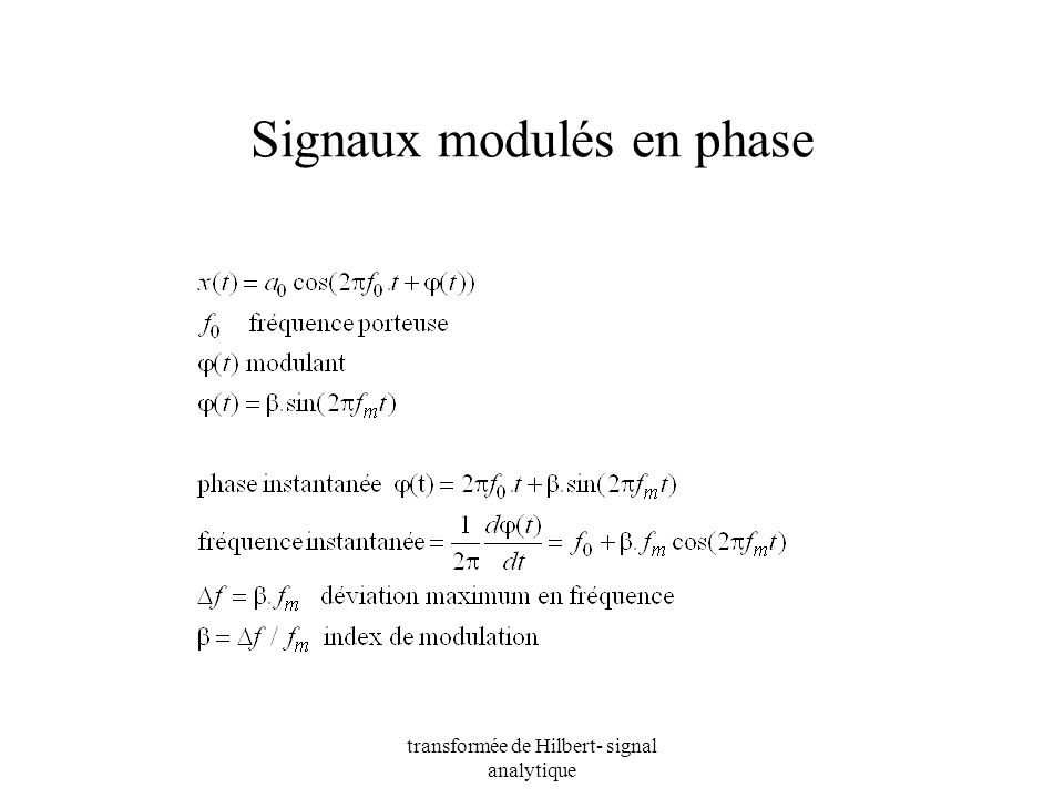 Signaux modulés en phase