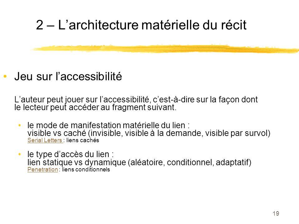 2 – L'architecture matérielle du récit