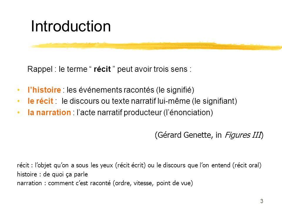 Introduction Rappel : le terme récit peut avoir trois sens :