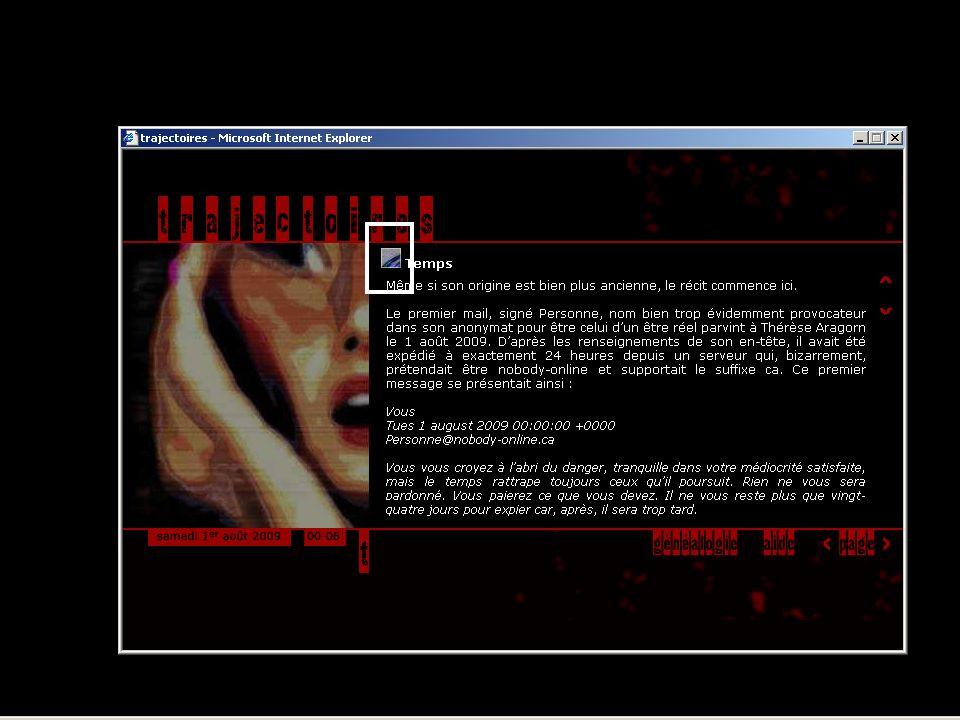 Ce récit incite d'ailleurs le lecteur à manipuler des fichiers informatiques : à chaque « page », en cliquant sur un fragment d'image précédant chaque fragment textuel,…