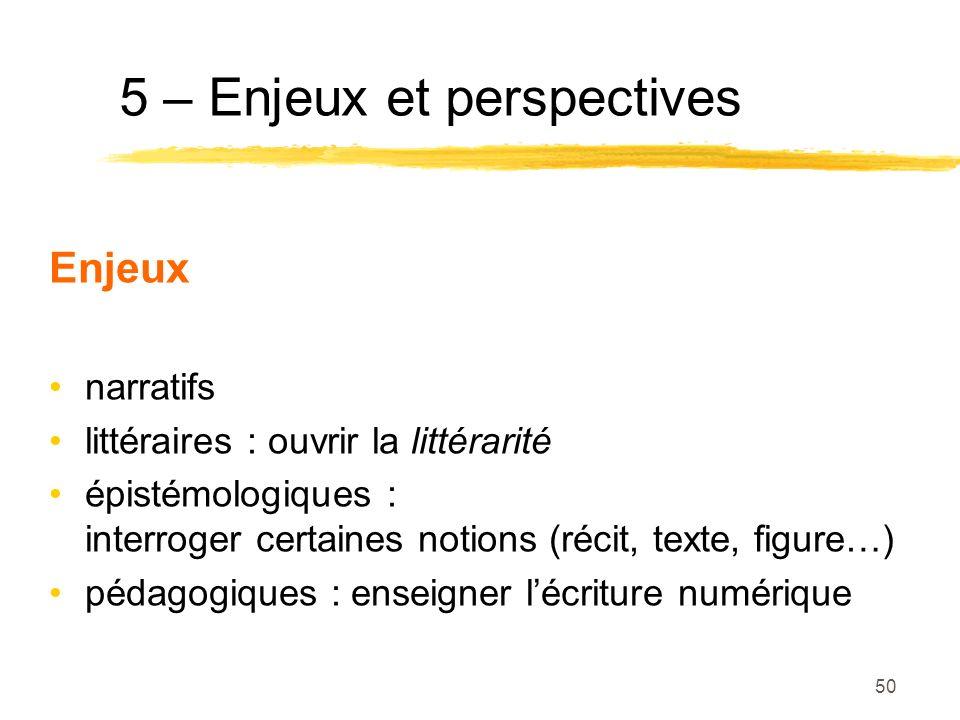 5 – Enjeux et perspectives