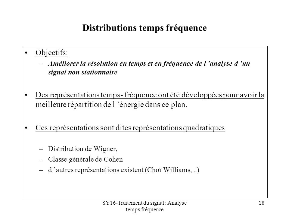 Distributions temps fréquence
