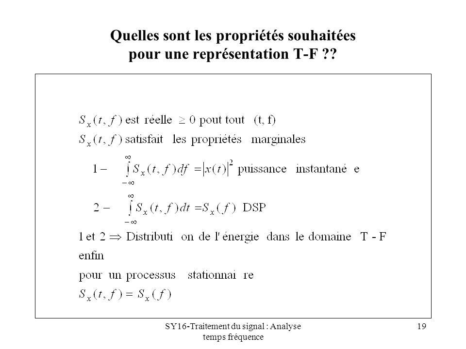 Quelles sont les propriétés souhaitées pour une représentation T-F