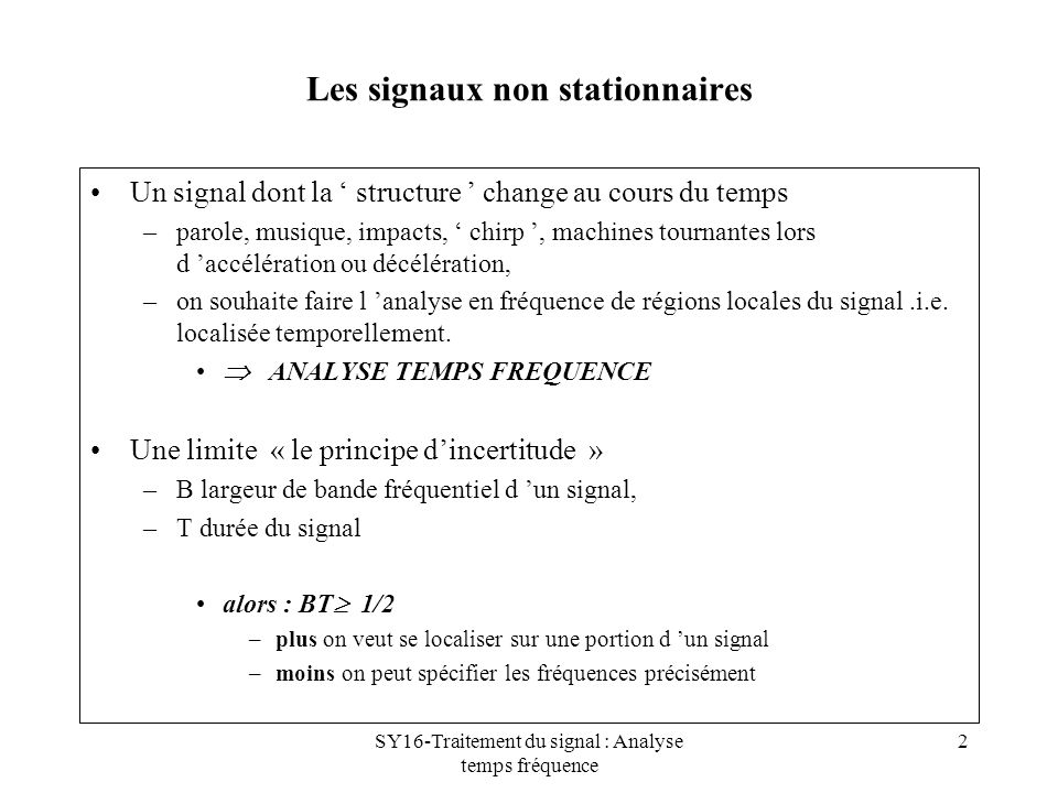 Les signaux non stationnaires