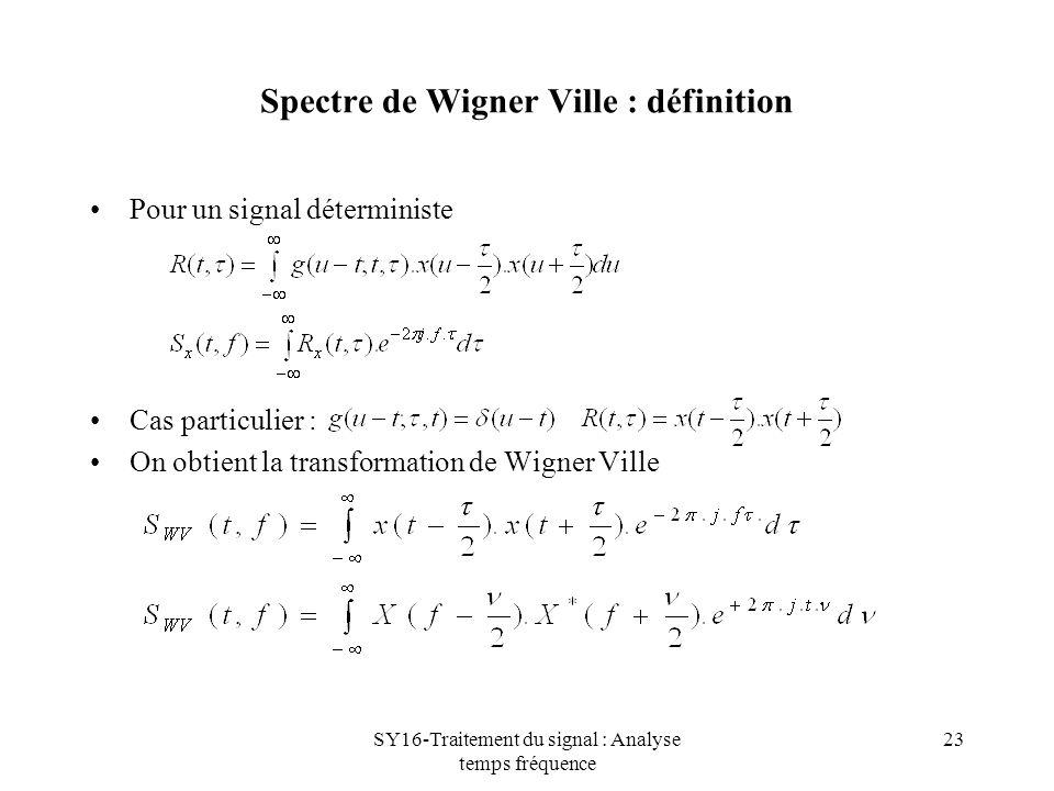 Spectre de Wigner Ville : définition