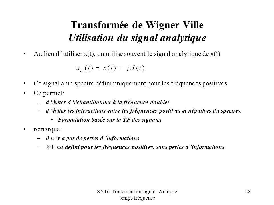 Transformée de Wigner Ville Utilisation du signal analytique