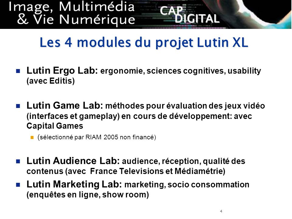 Les 4 modules du projet Lutin XL