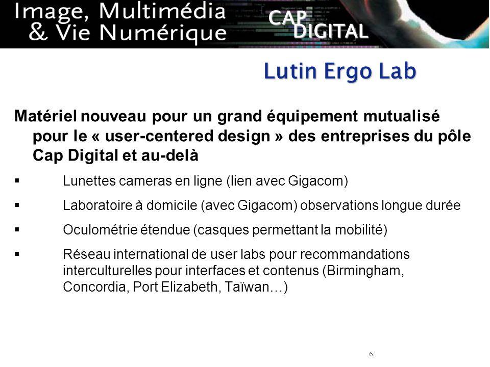 Lutin Ergo Lab Matériel nouveau pour un grand équipement mutualisé pour le « user-centered design » des entreprises du pôle Cap Digital et au-delà.