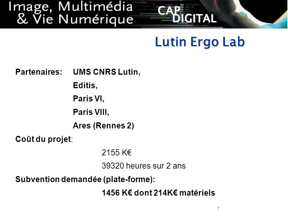 Lutin Ergo Lab Partenaires: UMS CNRS Lutin, Editis, Paris VI,