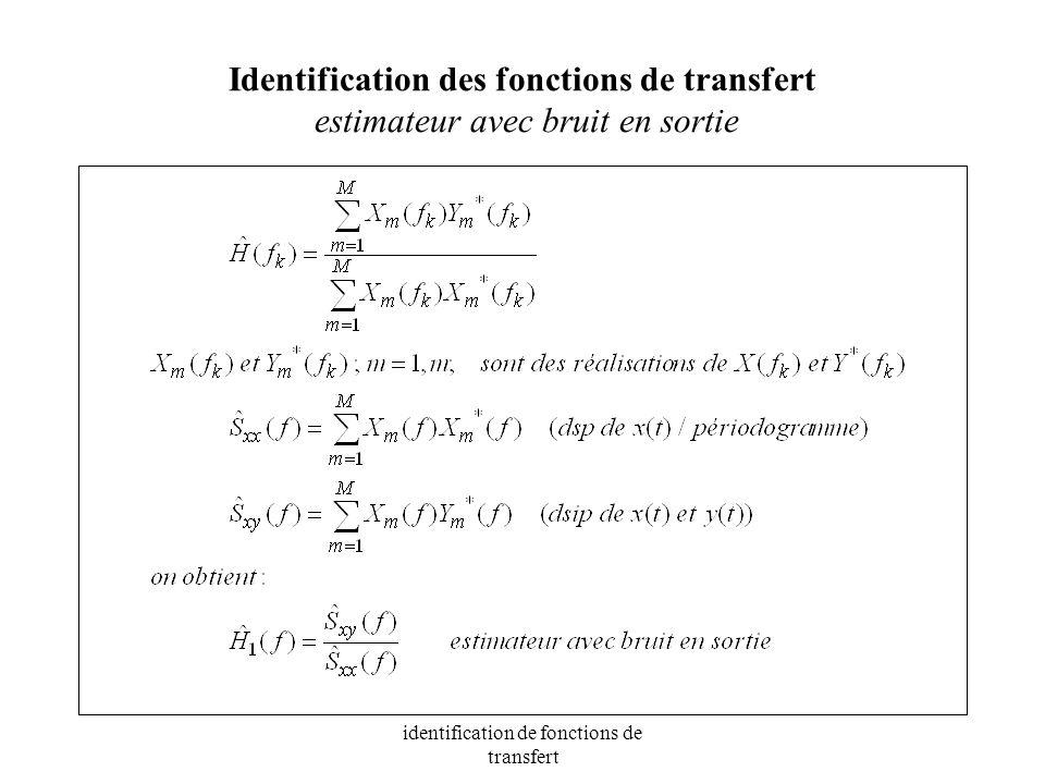 identification de fonctions de transfert