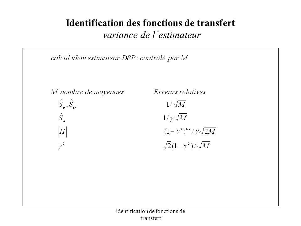 Identification des fonctions de transfert variance de l'estimateur