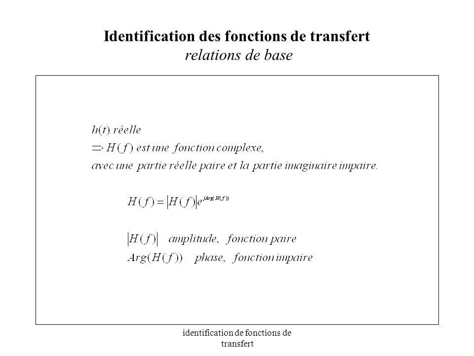 Identification des fonctions de transfert relations de base