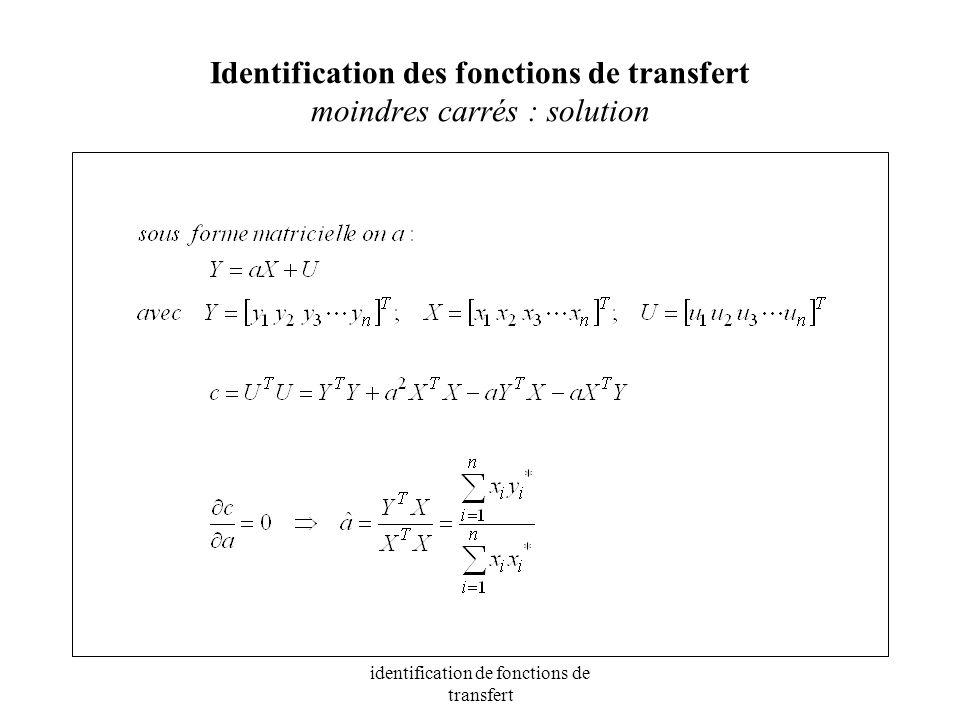 Identification des fonctions de transfert moindres carrés : solution