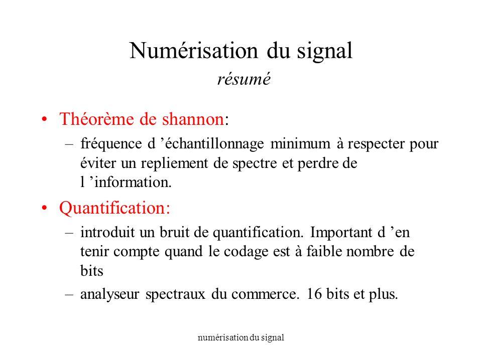 Numérisation du signal résumé
