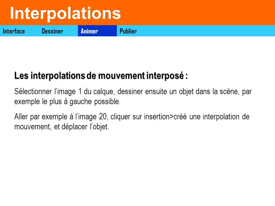 Interpolations Les interpolations de mouvement interposé :