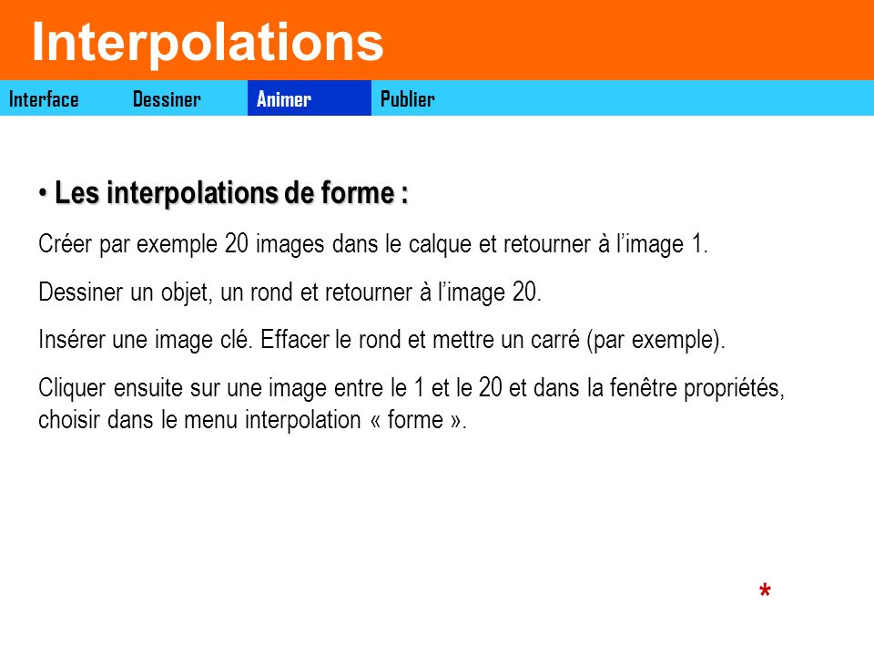 Interpolations * Les interpolations de forme :