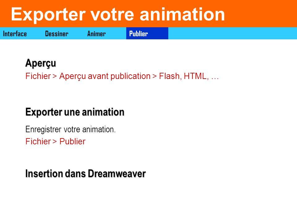 Exporter votre animation