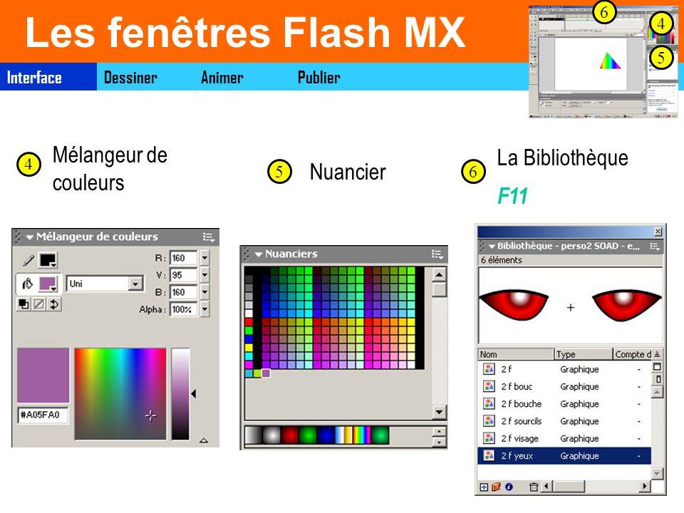 Les fenêtres Flash MX Mélangeur de couleurs La Bibliothèque Nuancier