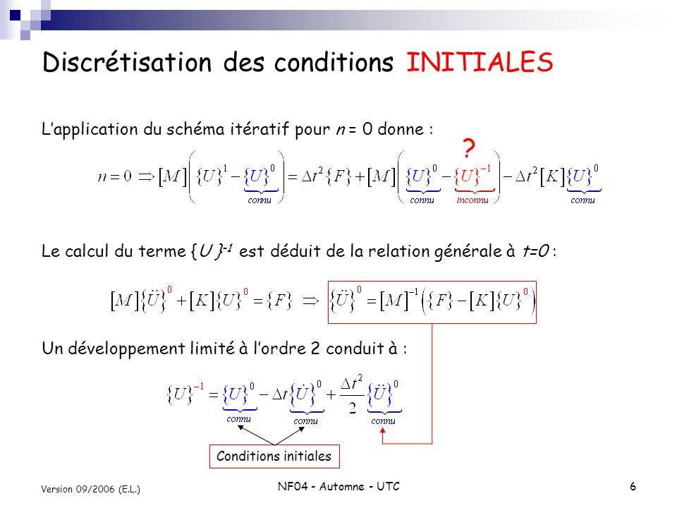 Discrétisation des conditions INITIALES