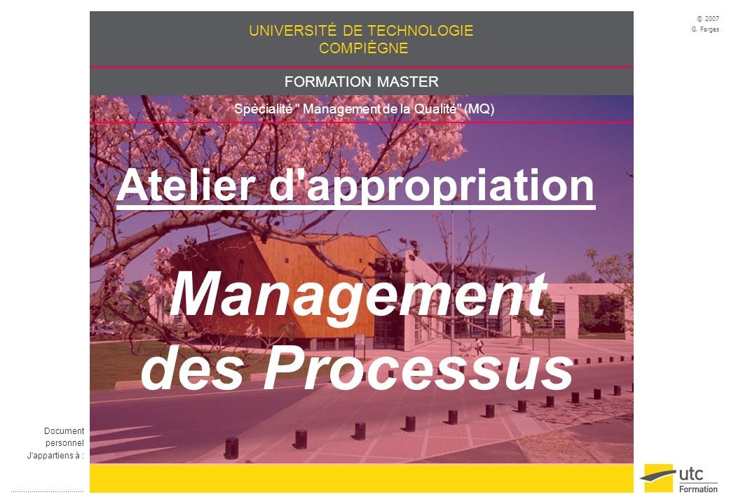 Atelier d appropriation Management des Processus