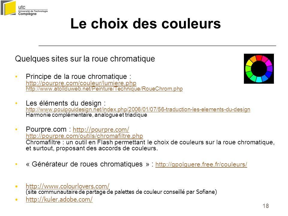 Le choix des couleurs Quelques sites sur la roue chromatique