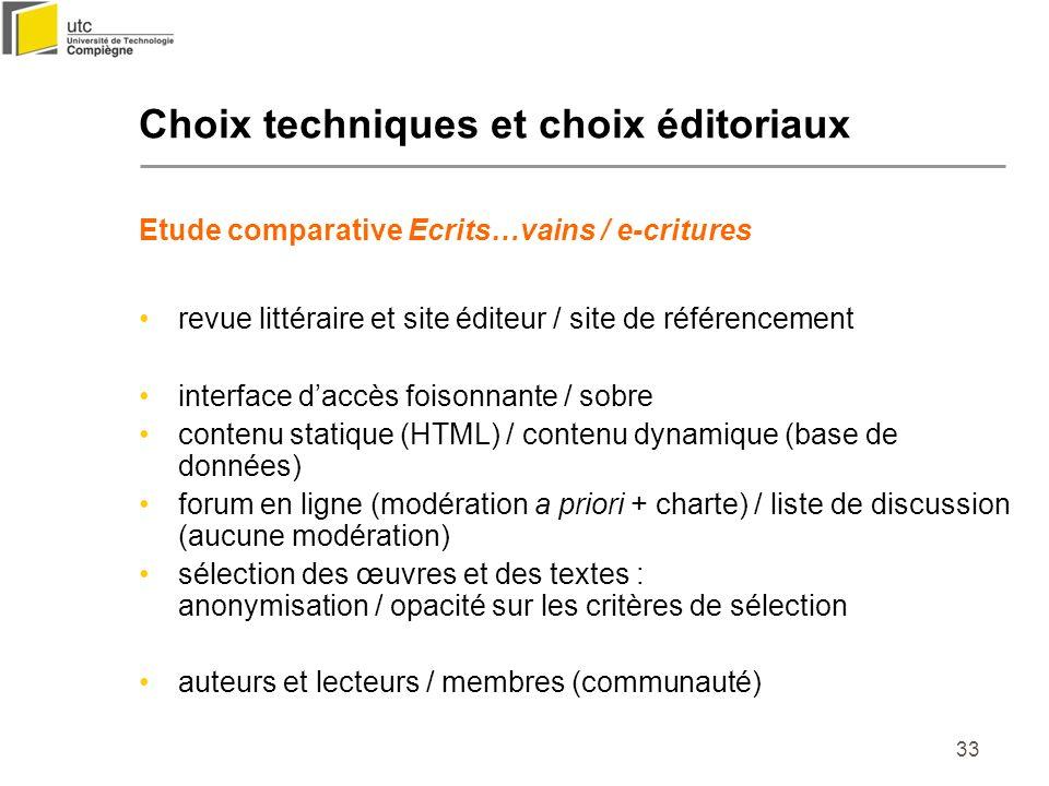 Choix techniques et choix éditoriaux