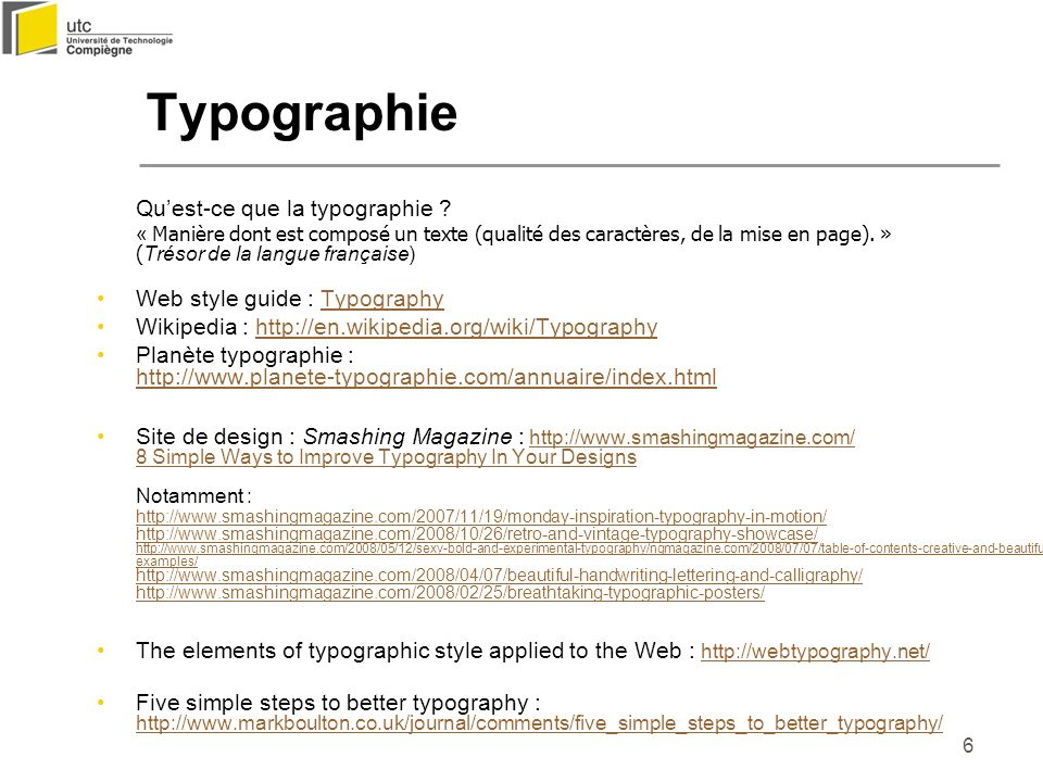 Typographie Web style guide : Typography