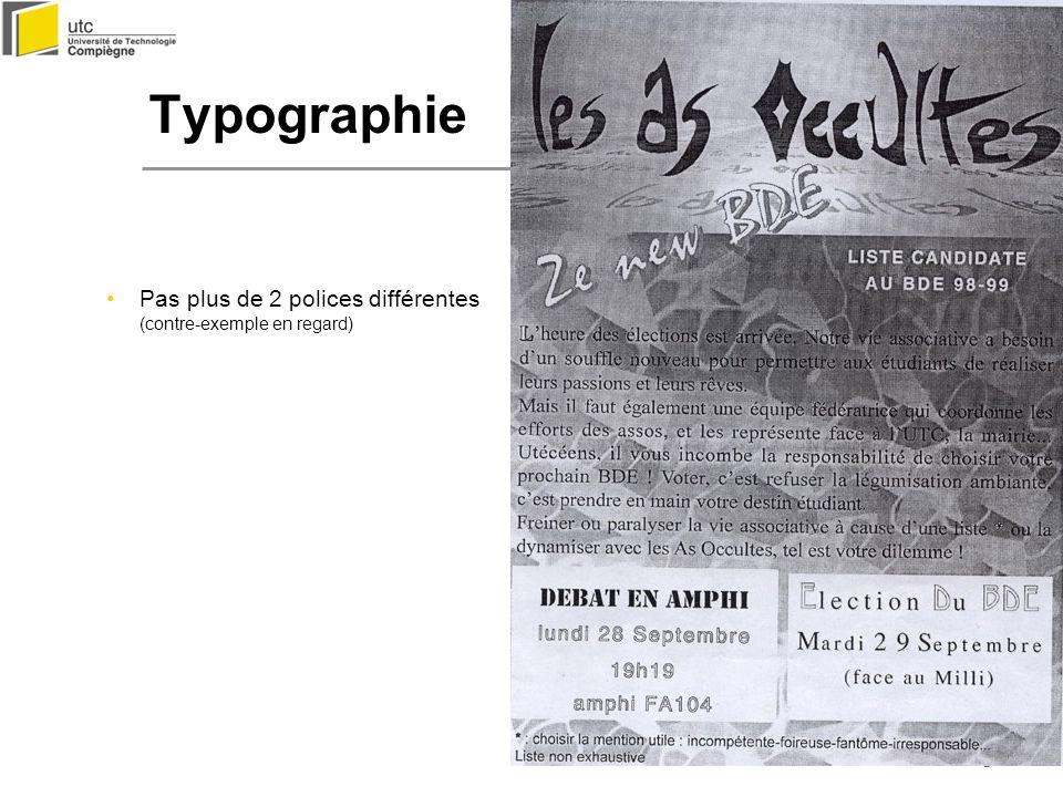 Typographie Pas plus de 2 polices différentes (contre-exemple en regard)
