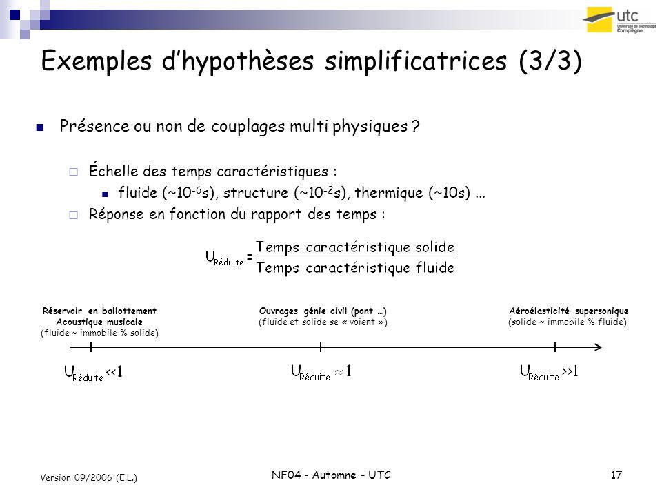Exemples d'hypothèses simplificatrices (3/3)